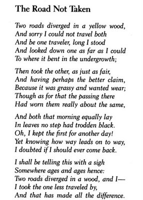 picture regarding The Road Not Taken Printable called the highway much less traveled poem